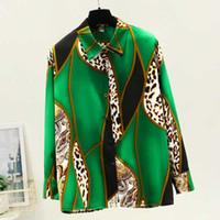 tops para mujer y blusas gira el collar abajo camisa de la blusa blusa de gasa de impresión mujeres ropa blusas de manga larga de las mujeres C768