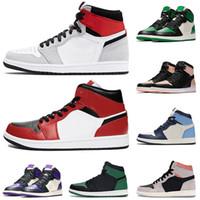nike air retro jordan 1 1s Hot venda mens tênis de basquete Jumpman 1 mulheres Chicago OG reais 1s Toe quebrados encosto Top 3 com marca preta tênis branco