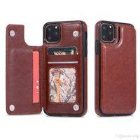 Para iPhone 11 12 XR XS Pro Max Teléfono Fashion Retro PU Hebillas de cuero Caja de la cartera Flip Soporte Tarjetas Slots Tapa