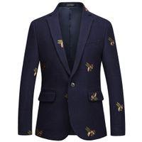 Bladerie d'abeille pour hommes Bladery Slim Fit De Mariage Blazers Blazers Tweed Laine Pour Homme Veste costume élégant