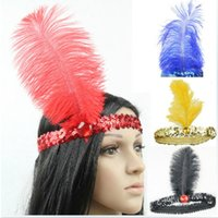 HOT 10 Couleurs Plume Bandeau Flapper Sequin Headpiece Costume Head Band Party