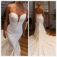 Backless Lace Mermaid Arabic Wedding Dresses Spaghetti Beade...