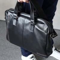 Hot Man Briefcase Japan Style Cow Leather Business Bag Black...