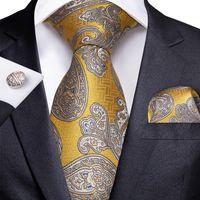 Быстрая доставка галстуки мужские 100% шелковые дизайнеры мода желтый белый Paisley Tie Hanky запонки наборы для мужской формальной свадьбы Groom N-1730