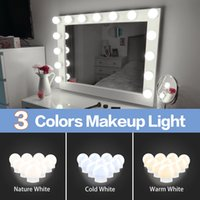 LED 12V Maquillaje de maquillaje Bombilla de luz Hollywood Vanity Lights Stepless Lámpara de pared regulable 6 10 14 Kit de 14illas para tocador LED010