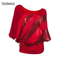 Texiwas Kadınlar Artı Boyutu Glitter Bluz Kapalı Omuz Batwing Gömlek Payetli Kadın Tunik Gömlek Gevşek Streetwear Y19050501 Tops