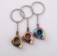 휘슬 사운드 터보 키 체인 슬리브 베어링 회전 자동차 부품 모델 터빈 터보 충전기 키 체인 링 Keyfob Keyring 무료 배송