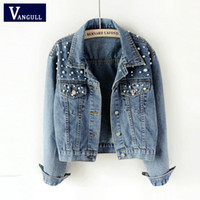 Vangull 2019 Spring Autumn New Pearl Beading Crop Denim Jackets Female Casual Jeans Bomber Jacket Long Sleeve Coat Plus Size 5Xl
