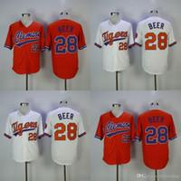 Clemson Beyzbol Forması # 28 Seth Bira Eve Uzakta Beyaz Mor Turuncu Seth Bira Dikişli Beyzbol Forması