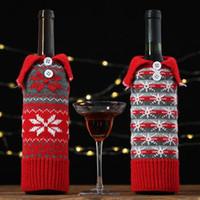 Navidad de punto botella de cristal cubierta de la bolsa del copo de nieve bolsa de vino para las botellas cubiertas de tabla del partido del festival del partido del hogar de la decoración bolsas de regalo