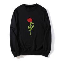 Толстовка толстовка осень Роза аппликация печати пуловеры хлопок корейская версия с длинными рукавами тонкие свободные мужчины толстовка