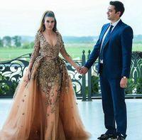 De luxe sirène dentelle 2018 robes de soirée encolure en V cristaux Manches longues Robes de bal Sexy Party Robes formelles
