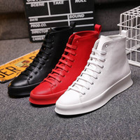 ERRFC 2018 Winter New Mens Red Ankle Boots Round Toe Lace Up...