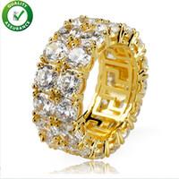 Hip Hop Ring, Auniquestyle Micro Pave CZ Stein 2 Row Tennis Ring Männer Frauen Charme Schmuck Kristall Zirkon Diamant Gold Silber Farbe Überzogen