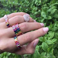 2018 mulheres anel de banda de noivado cor do arco-mf para lindas mulheres européias jóias de alta qualidade full CZ anéis banda eternidade mulheres Luxo
