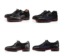 Yepyeni Mika Sky Loafers Kırmızı Alt Gentleman Oxford Yürüyüş Flats Lüks Dana derisi Taneli Deriler Lug Sole Akşam Partisi İş Dres