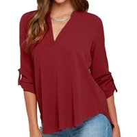 Women V- neck Large Size Career Loose Tops OL 3 4 Sleeve Faba...