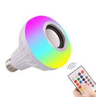 스마트 LED E27 라이트 RGB 무선 블루투스 스피커 전구 램프 음악 Dimmable 12W 음악 플레이어 오디오 재생