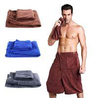 Lüks Erkek Banyo Wrap Havlu Cep Yüzme Plajı Ile Set Yumuşak Mikrofiber Erkekler Hızlı Kuruyan Giyilebilir Banyo Havlusu Duş Banyo Wrap Vücut