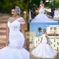 Plus Size White Mermaid Wedding Dresses One Shoulder Sweep T...