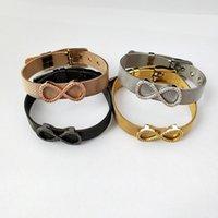 Bracelet inspiré de bijoux en acier inoxydable, charme de l'infini Perles ceinture de montre, chiffres arabes CZ Micro Pave 8 Bracelet à breloques BG221