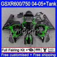 Bodys + Tanque Para SUZUKI GSXR 750 GSXR 600 GSXR-750 GSX-R600 2004 2005 295HM.57 GSX R750 K4 GSXR600 Verde chamas 04 05 GSXR750 04 05 Carenagem