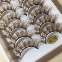 NEW 10 Paare 3D Mink Farbe Falsche Wimpern Brown Kreuz Lange natürliche gefälschte Wimper Stage Show Make-up Dick Eye Lashes