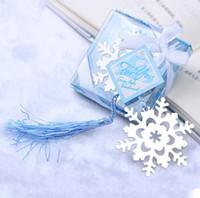 100 stks / partij RUSHED Real Book Marker Snowflake Bladwijzers Bruiloft Levert Hanger Geschenken Tassel Gunsten gratis verzending SN4061