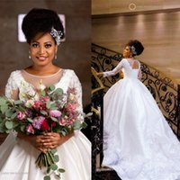 2020 African Ball Gown Wedding Dresses Beaded Long Sleeevs C...