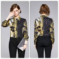 톱 판매 가을 겨울 프린트 셔츠 럭셔리 여성 의류 라펠 넥 블라우스 우아한 사무실 비즈니스 레이디 슬림 맞추기 세련된 셔츠 탑