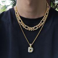 힙합 블링 체인 쥬얼리 남자 아이스 아웃 체인 랩 성격 합금 다이아몬드 NK3 : 1 개 피가로 쿠바 링크 체인 목걸이 또는 팔찌