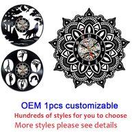 OEM 1шта настраиваемые 12 дюймов черного винил Wall Классного Home Decor Wall Art Clock Gift