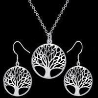 The Tree of Life Pendant Necklace Earrings Set Silver Gold C...