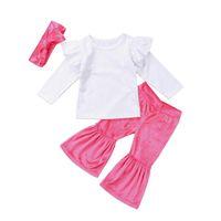 Pudcoco Criança Bebés Meninas Vestuário Set Ruffles comprida feminina Branca T-shirt Tops + rosa Alargamento Pants + alça 3pcs / Sets Conjuntos de algodão