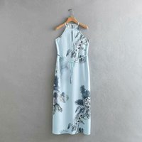 QZ882 Fashion Women' s Light Blue Color Ink Painting Pla...