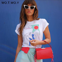 Wotwoy 2019 Funny Abstract Print T Shirt Women Summer White ...