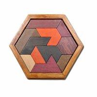 나무 육각형 Tangram 퍼즐 나무 퍼즐 게임 어린이 성인 클래식 수제 두뇌 티저 논리 퍼즐 교육 완구