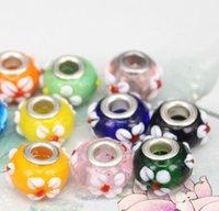 Multicolor Fleur Perles Bijoux Accessoires en verre Lampwork Charm Perle pour Fleurs européen Big Hole Fit Bracelets cadeau de Noël