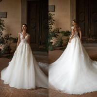 Milla Nova Boho свадебные платья 2020 A Line кружева аппликация Sheer декольте Bohemia свадебные платья развертки поезд на заказ Vestidos de Novia 450