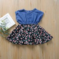 Çocuklar Giyim Kız Denim Splice Çiçek Elbise Çocuk Çiçek Baskı Prenses Elbiseler Yaz Moda Butik Bebek GiyimZZ0215