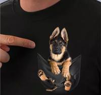 Alman Çoban Cebinde T Gömlek Köpek Severler Siyah Pamuk Erkekler abd'de Yapılan Karikatür t shirt erkek Unisex Yeni Moda tshirt