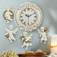ASFULL Harz-Rosen-Blume Europäischen Dekorativ Digital Wanduhr Quiet Room Clock Hotel Restaurant Engel Wohnzimmer-Dekoration
