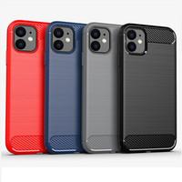 Casos de caso de fibra de carbono macio TPU para iPhone 13 12 11 Pro Max 6 6s 7 8 mais x xs xr cobrança à prova de choque