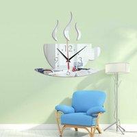 1pc 2020 Nouveau 3D bricolage Horloge murale Accueil Moderne Décoration Miroir Cristal Art Vinyl Sticker Decal