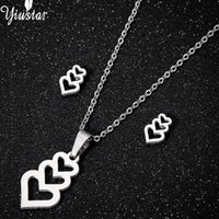 yiustar Silver Heart Pendant Necklace Stud Earrings for Wome...