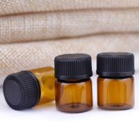 1 ml 2 ml en verre ambré Essential tubes d'échantillons de parfum Bouteille d'huile Bouteille avec bouchon Plug and JXW543