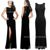 Auf Lager Lowest Jewel with Zipper Back Lace Schwarz Abendkleider Elegant Party Prom Gowns LF038