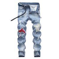 Rasgadas desenhador Calças de roupas Moda Jeans Luz dos homens azuis Magro Denim Hetero motociclista Buraco hip hop jeans Men