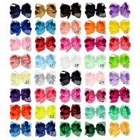 6-дюймовые детские ленты лук клипы сплошные цвета луки клип девушки большие бабочки шпильки для волос Детские волосы бутик для волос бантики детские аксессуары для волос 40 цветов