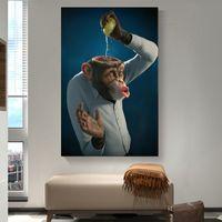 Canvas pintura de parede Posters Prints criativa macaco animal Wall Art Pictures Para Living Room Decoração Restaurantes Hotel Home Decor
